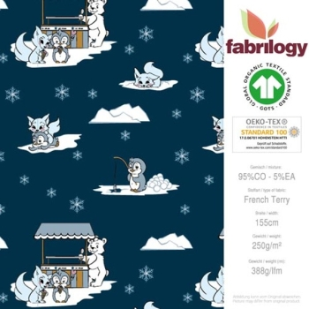 French Terry Winterland - Polarfuch, Eisbär und Pinguin + Iglu - indigo - Fabrilogy